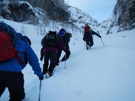 Trekking uphill in Trient