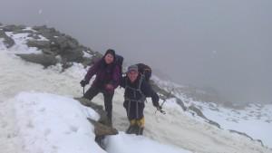Prepared walkers descending Snowdon
