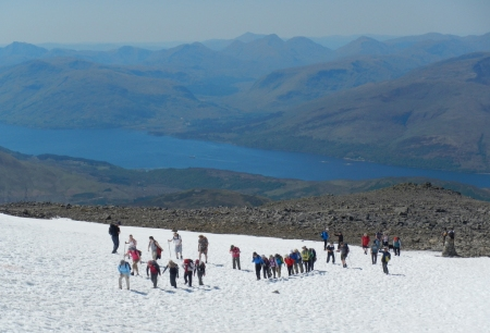 Walkers hit the snow line on Ben Nevis
