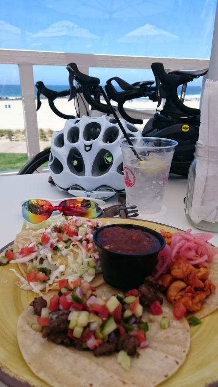 Mixed tacos by the ocean at Hotel Del Coronado after our trianing ride